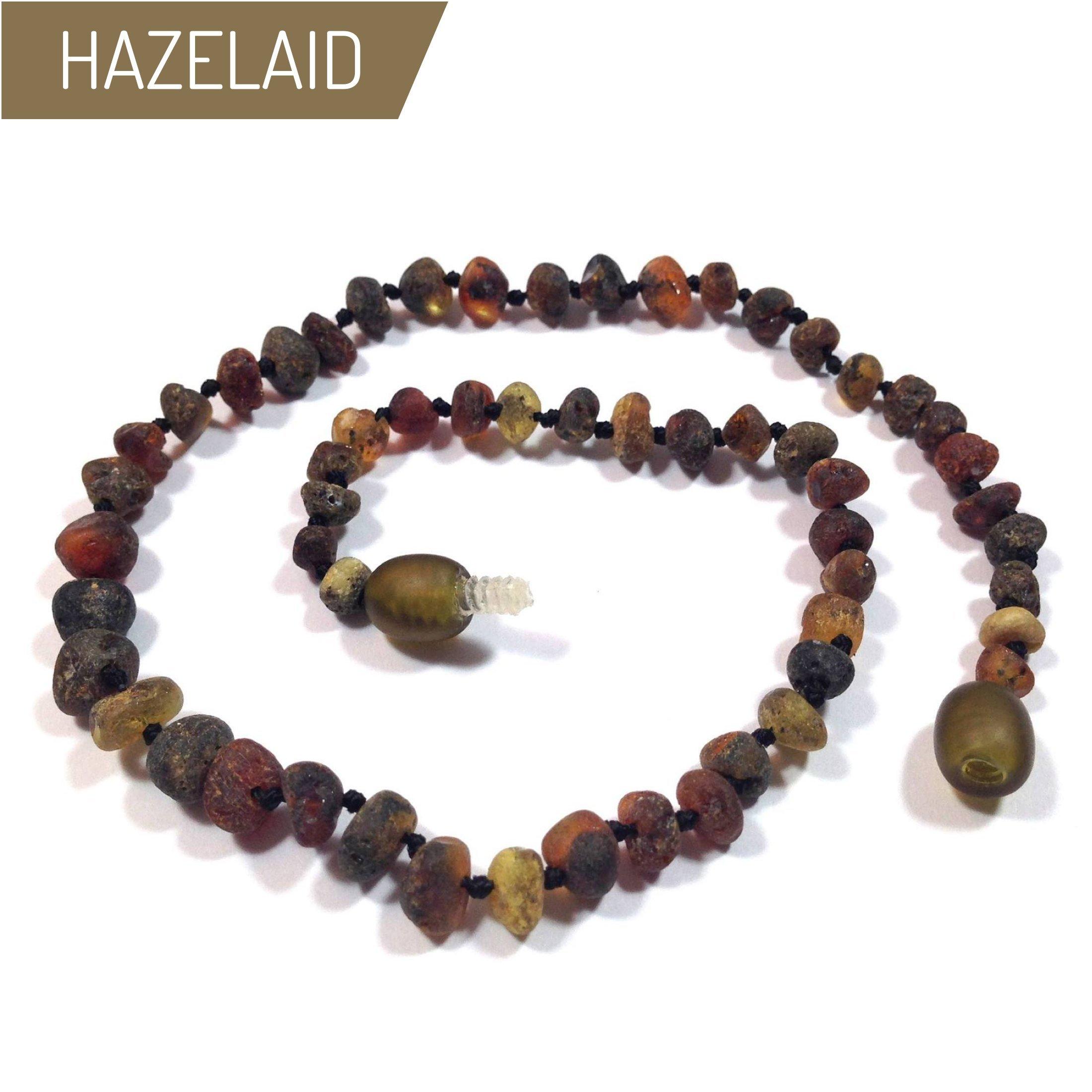 Hazelaid (TM) 12'' Twist-Clasp Baltic Amber Asteroid Necklace