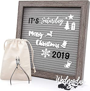 Felt Letter Board 10x10 Inches, Gray Changeable Message Board with Stand & Wall Hook, 803 Black & White Letters, Emojis, Months & Weeks, Arabic Numerals, Canvas Bag and Scissors - Rustic Wood Frame