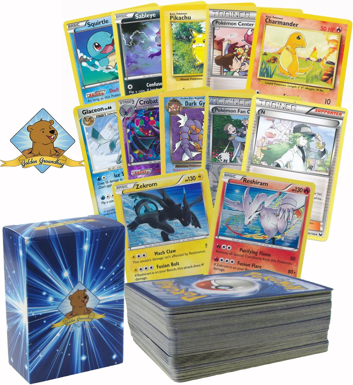 Pokemon 100 card lot Featuring N and 1 Legendary Pokemon Zekrom or Reshiram! Includes Rares and Foils! Includes Golden Groundhog Box!