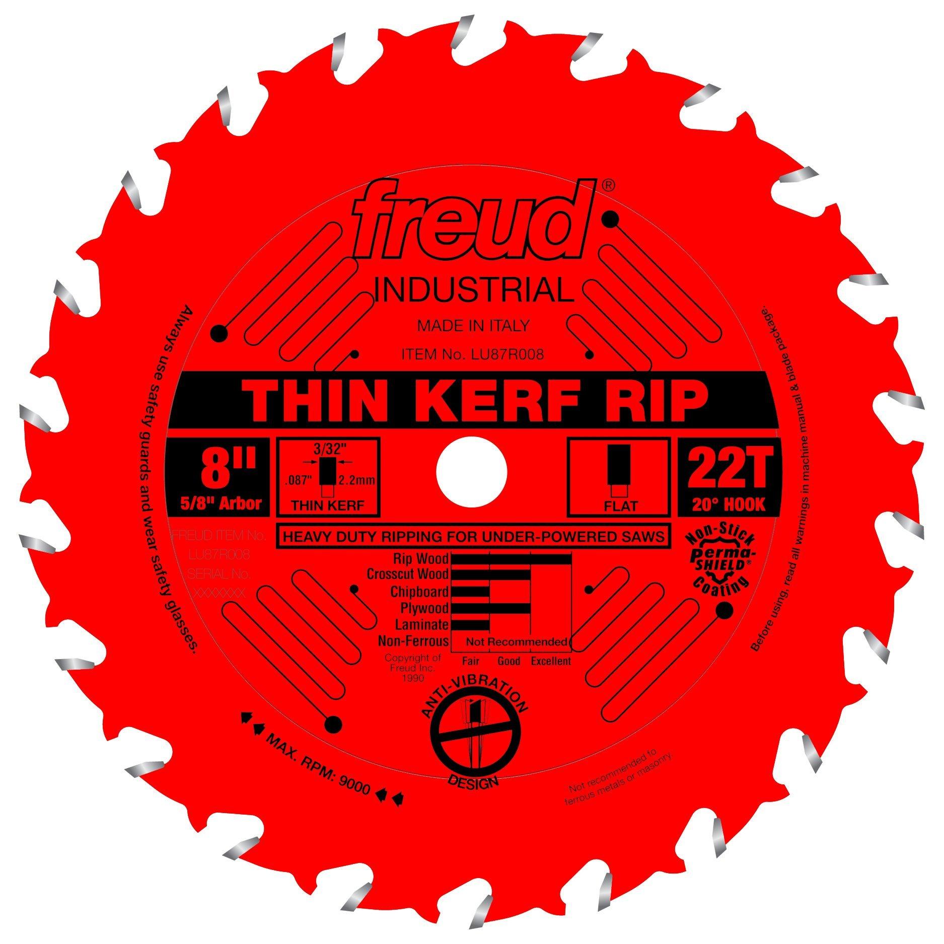 Disco Sierra FREUD 8 x 22T Thin Kerf Rip (LU87R008)