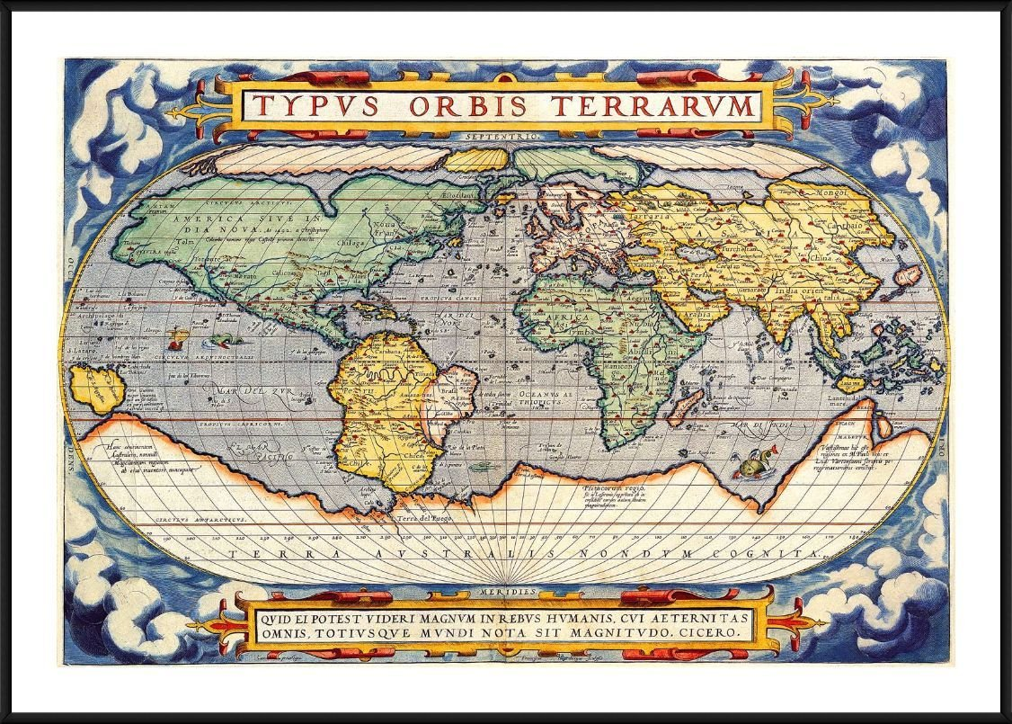 Alonline Art - Antique Old Vintage V3 by World Map | Black Aluminum framed picture printed on 100% cotton canvas, attached to the foam board | Ready to hang frame | 29'x20' | Wall art home decor HD