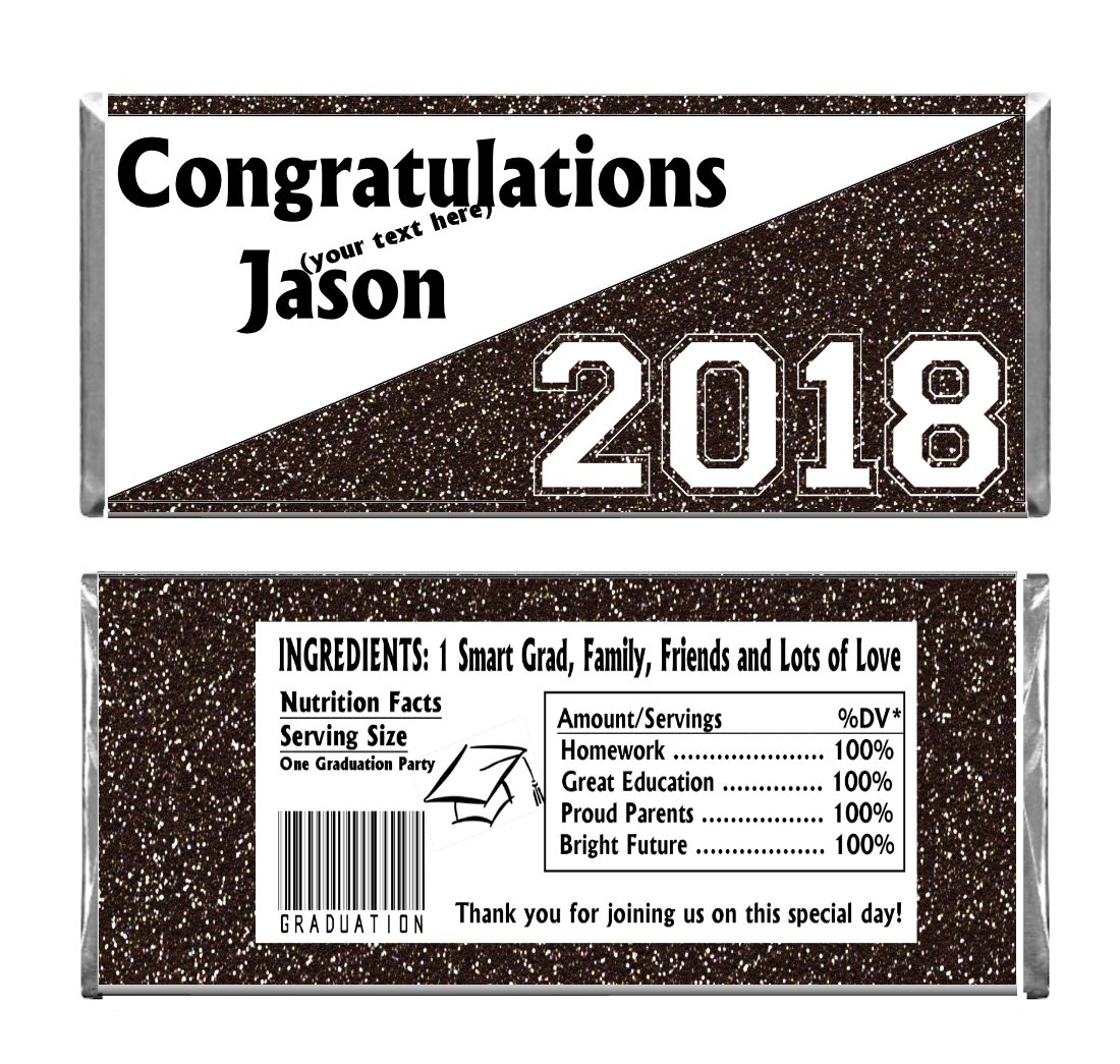 Black Graduation Glitter Design Party Personalized Custom Chocolate Candy Bar WRAPPERS ONLY Set of 24 by Blue Skies Plus (Image #1)