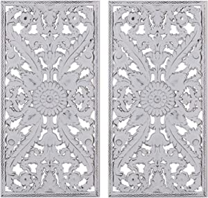 "Madison Park Wall Art Living Room Décor - Botanical Wooden Carving Home Accent Modern Kitchen Dining Decoration, Ready to Hang Panel for Bedroom, 15.75"" x 31.5"", White, 2 Piece"