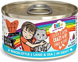 Weruva B.F.F. OMG - Best Feline Friend Oh My Gravy! Grain-Free Natural Wet Cat Food Cans, Land & Sea Recipes in Gravy