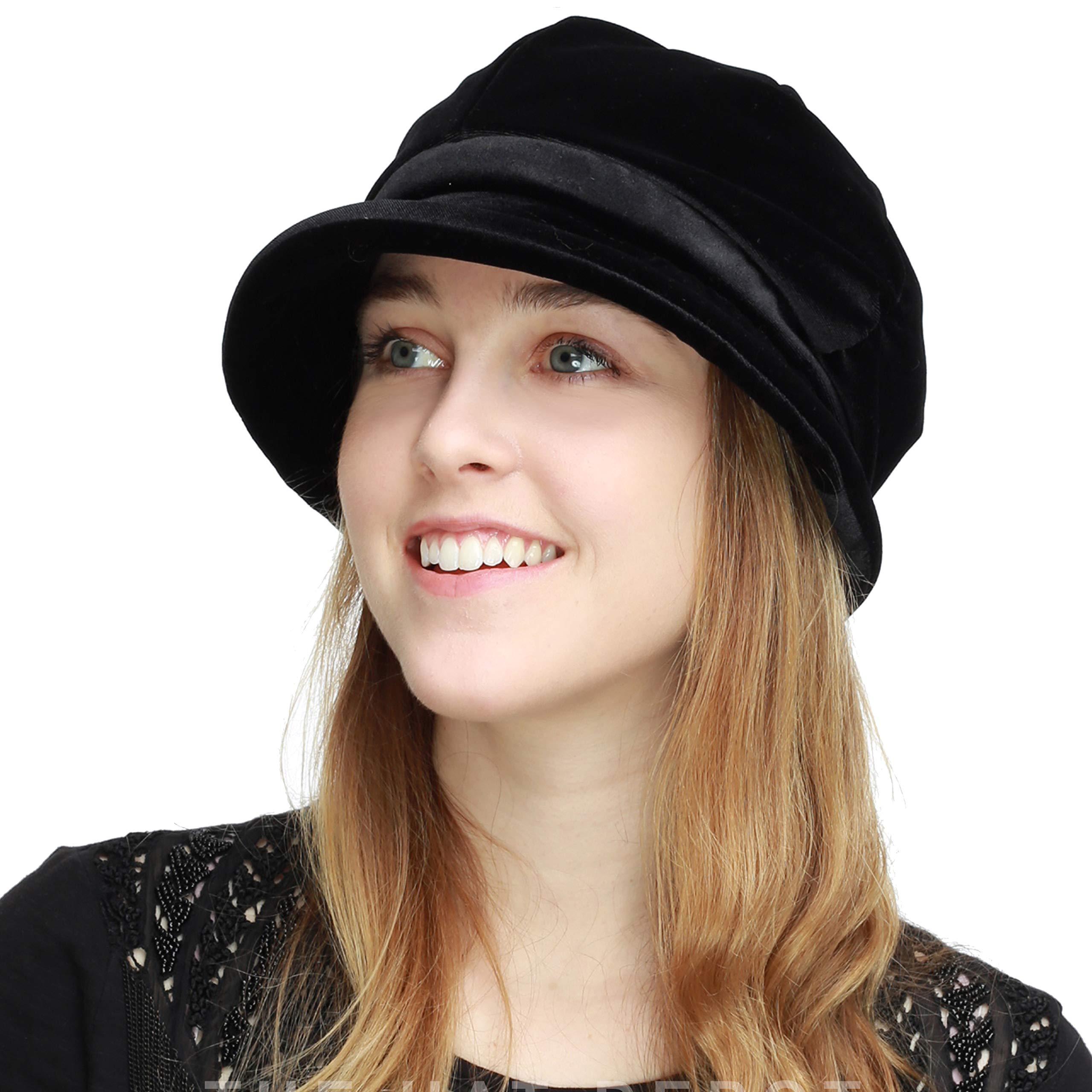 Womens Newsboy Cabbie Beret Cap Cloche Visor Hats (Velvet-Black)
