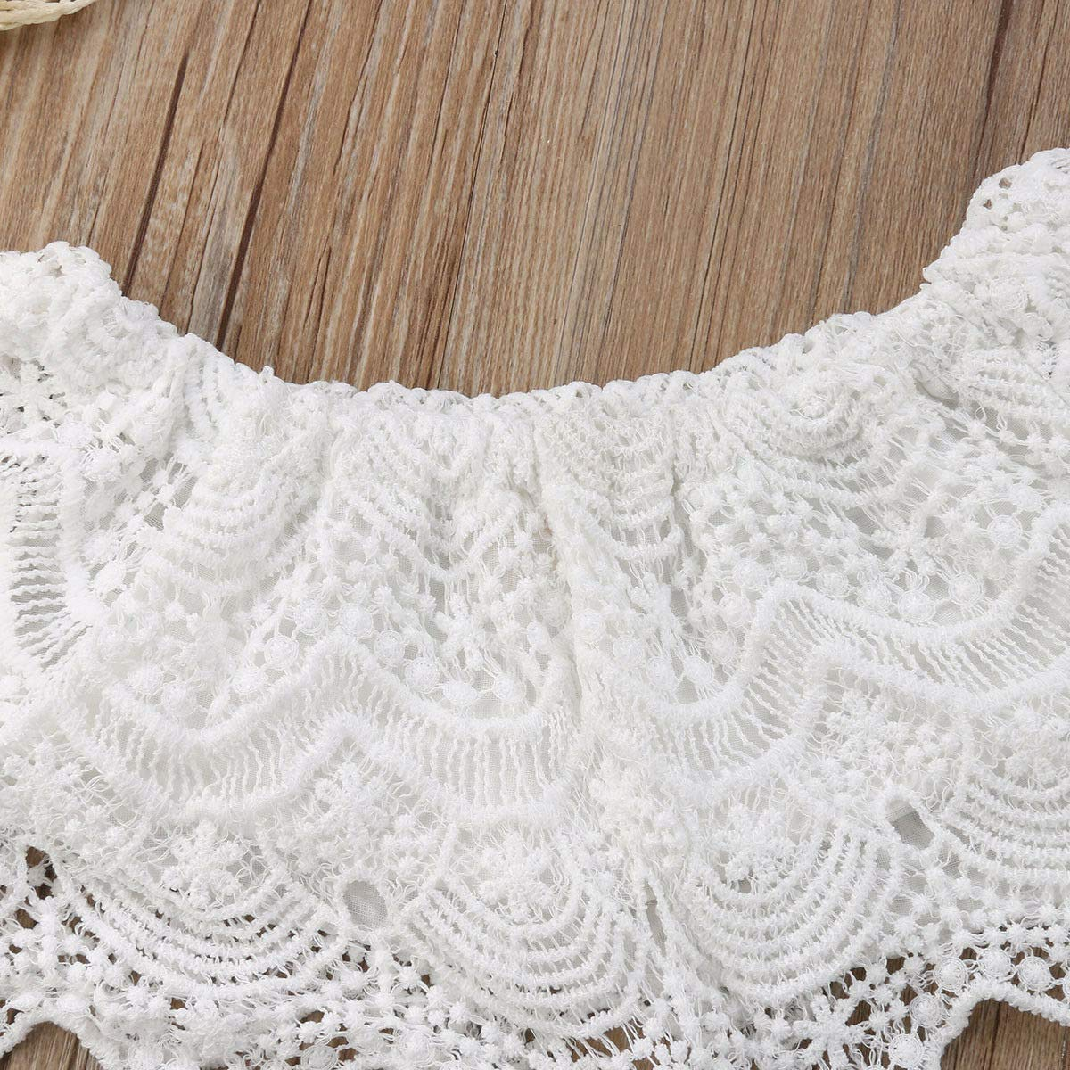 Baby and Toddler Girl Lace Crop Tops High Waist Bell Bottom Pants Clothes Sets