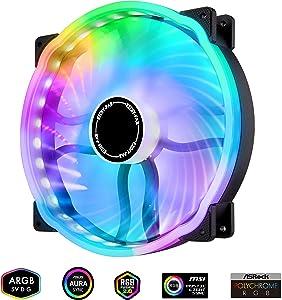 EZDIY-FAB 200mm RGB Case Fan 800rpm, Hydraulic Bearing 200mm 5V ARGB Fan for Computer Case-1 Pack