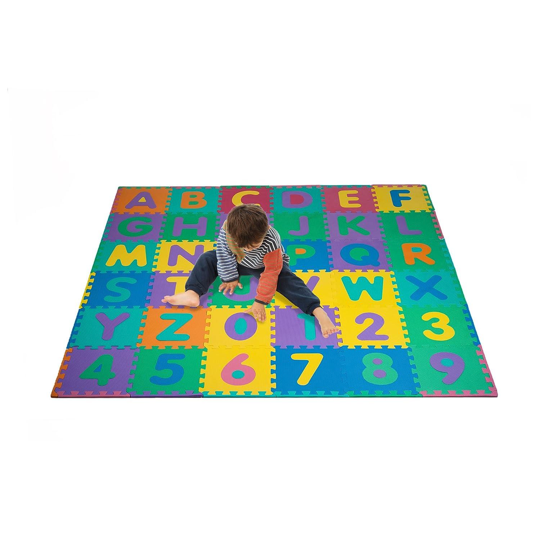 amazoncom foam floor alphabet and number puzzle mat for kids   - amazoncom foam floor alphabet and number puzzle mat for kids piecetoys  games