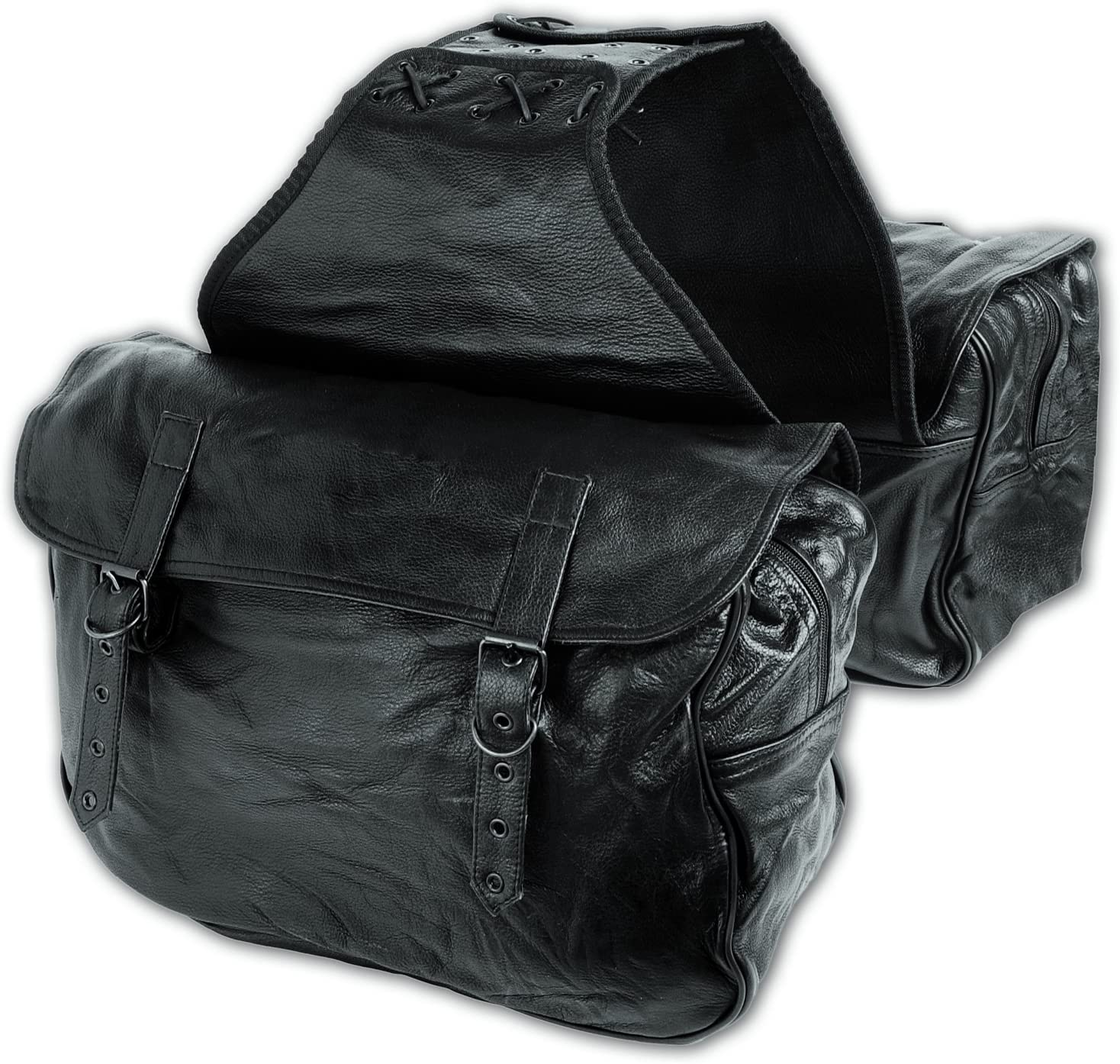 Black Cruiser Style Motorcycle Saddlebags Motorbike Throw Over Panniers Luggage