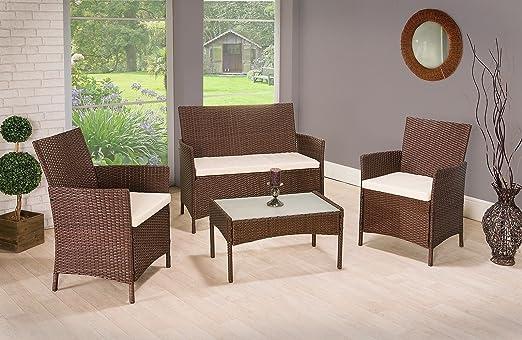 SSITG ratán muebles de jardín conjunto sillas sofá mesa al aire libre Patio conservatorio mimbre: Amazon.es: Hogar
