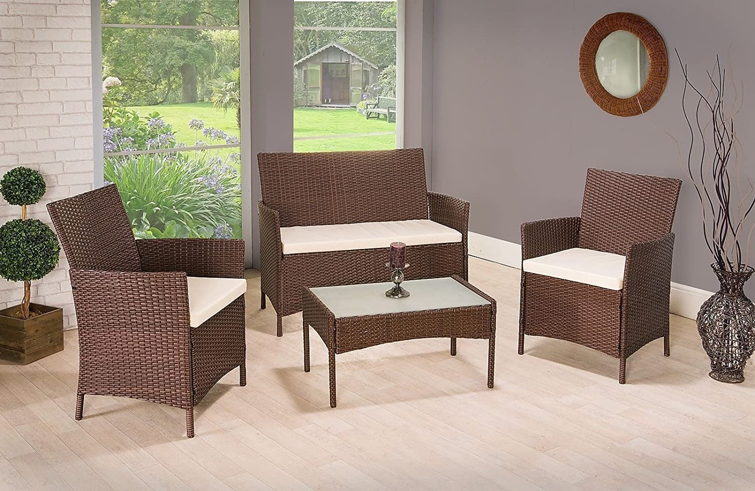 4 pieces 4 seater rattan garden furniture set 2 chairs 1 sofa 1 table outdoor patio conservatory amazoncouk kitchen home - Rattan Garden Furniture 4 Seater