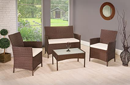 cd0d3e9a1b2 Image Unavailable. Image not available for. Colour  4 Pieces 4 SEATER RATTAN  GARDEN FURNITURE SET 2 CHAIRS 1 SOFA 1 TABLE OUTDOOR PATIO