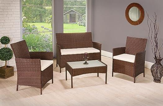 4 pieces 4 seater rattan garden furniture set 2 chairs 1 sofa 1 table outdoor patio - Rattan Garden Furniture 4 Seater