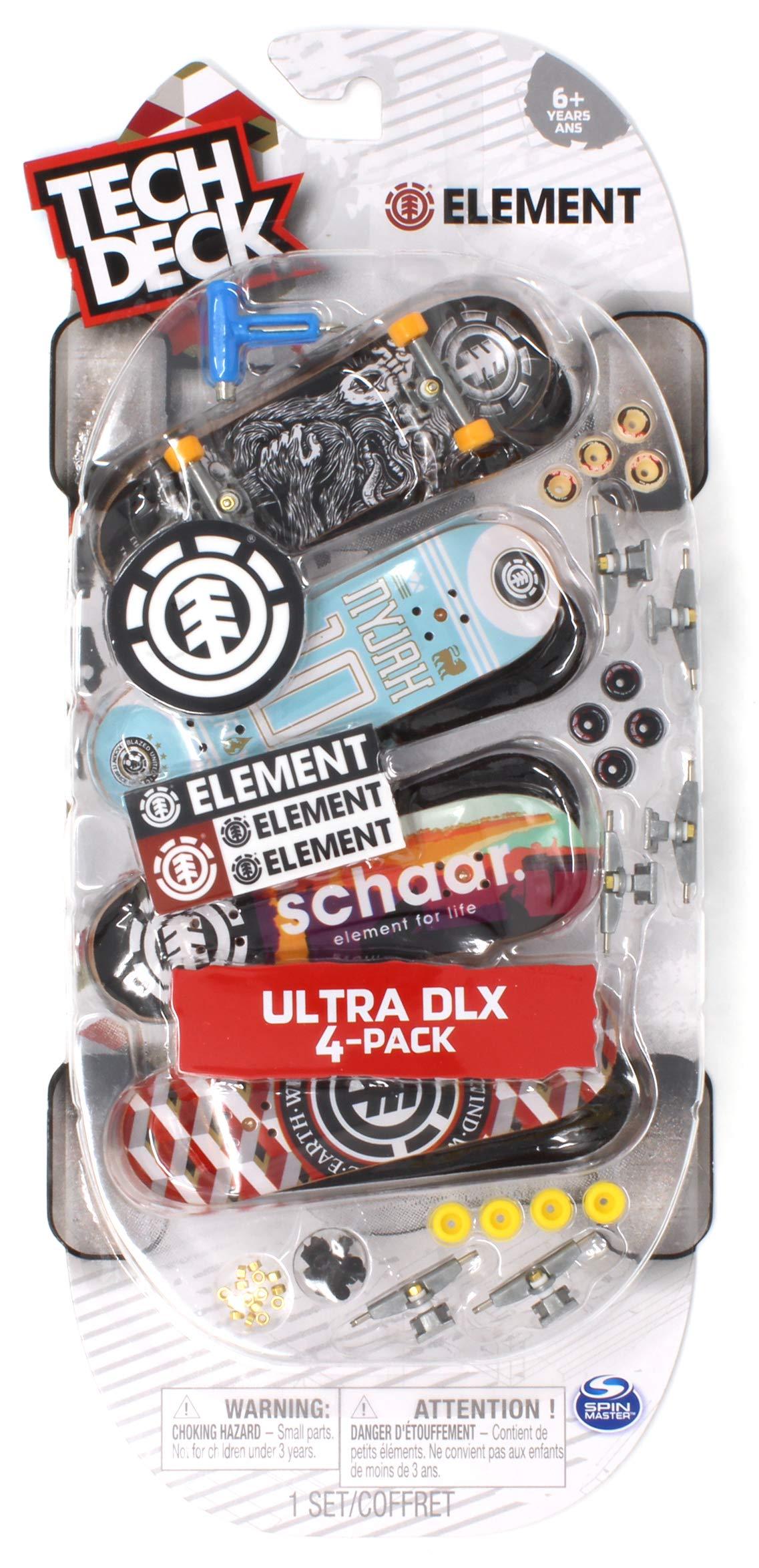 Tech Deck Element Skateboards Ultra DLX Fingerboard 4 Pack by Tech Deck Element (Image #1)