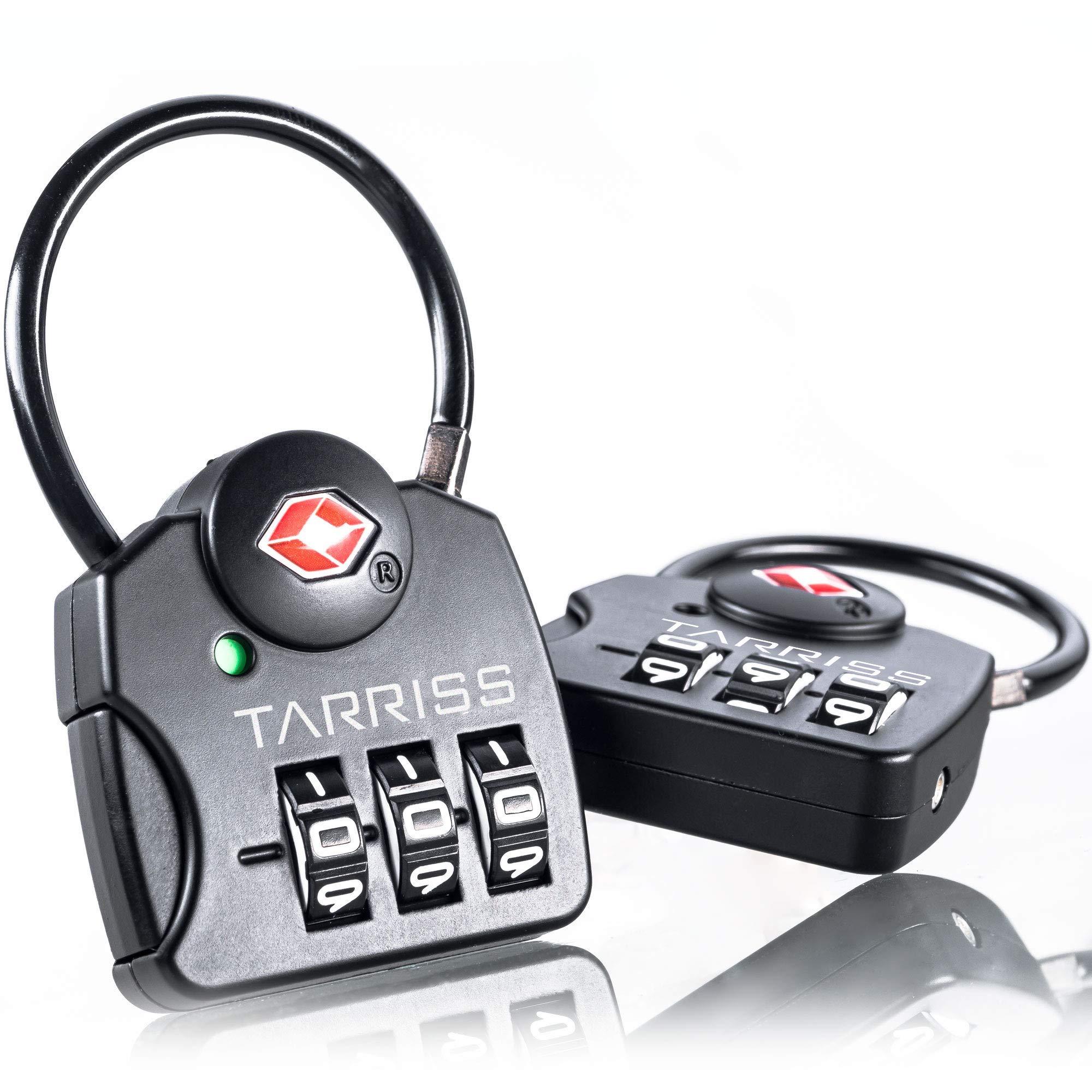 Tarriss TSA Luggage Lock with SearchAlert (2 Pack) (Midnight Black) by Tarriss