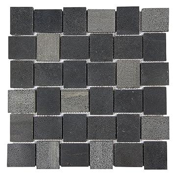 Linker Stone Basalt Black Grooved Mosaic Stone Tile Basket