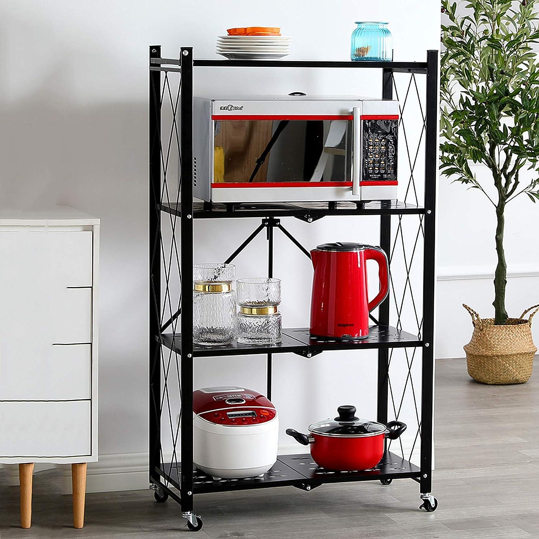 Chariot de cuisine /Étag/ère Pliable Support De Finition M/étallique /à 4 Niveaux avec Roues Support De Rangement pour Garage 72x34x127cm Noir Frein