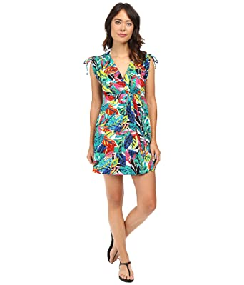 56f90434c0 Lauren Ralph Lauren Women's Rainforest Tropical Farrah Dress Cover-Up Multi  Swimsuit Top