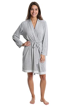Nouveau Women s Lace Trim Pajama Robe - Ladies Lounge   Sleepwear Bathrobe  - Heather Grey b049c1e07361