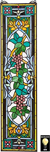 Design Toscano Grapes on The Vine Tiffany Style Stained Glass Window