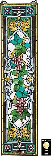 RADIANCE goods Tiffany-Style Victorian Design Window Panel 24 x 25