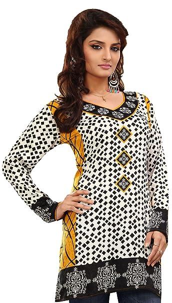 Largo India Túnica Top para Mujer Kurti Blanco Impreso Blusa India Ropa Blanco White 4 XXL