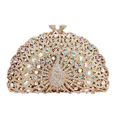 b4a159e8c2 Fawziya Luxury Crystal Clutches For Women Peacock Clutch Evening Bag-AB Gold