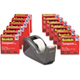 Scotch Transparent Glossy Finish Tape with C60 Desktop Dispenser, 3/4 x 1000 Inches, 12 Rolls, 1 Dispenser (600K-C60)