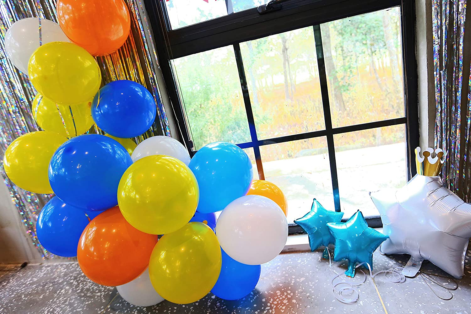 Party Supplies for Kids and Adults. ZZIIEE Birthday Party Decorations Kit Multicolor Balloons Bunting Pennant Flags Rainbow Happy Birthday Banner Slivery Metallic Tinsel Foil Fringe Curtains