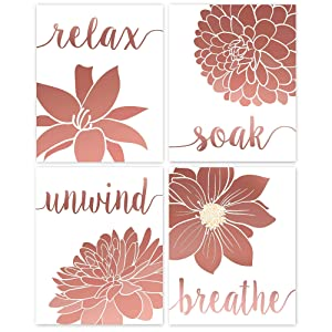 Relax, Soak, Unwind, Breathe Rose Gold & White Bath Flower Poster Prints, Set of 4 (8x10) Unframed Photos, Wall Art Decor Gifts Under 20 for College, Office, Home, Student, Teacher, Floral Fan