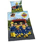 Herding 4470227050pompier Sam Parure de lit Parure de lit, Coton, multicolore, 135x 200cm