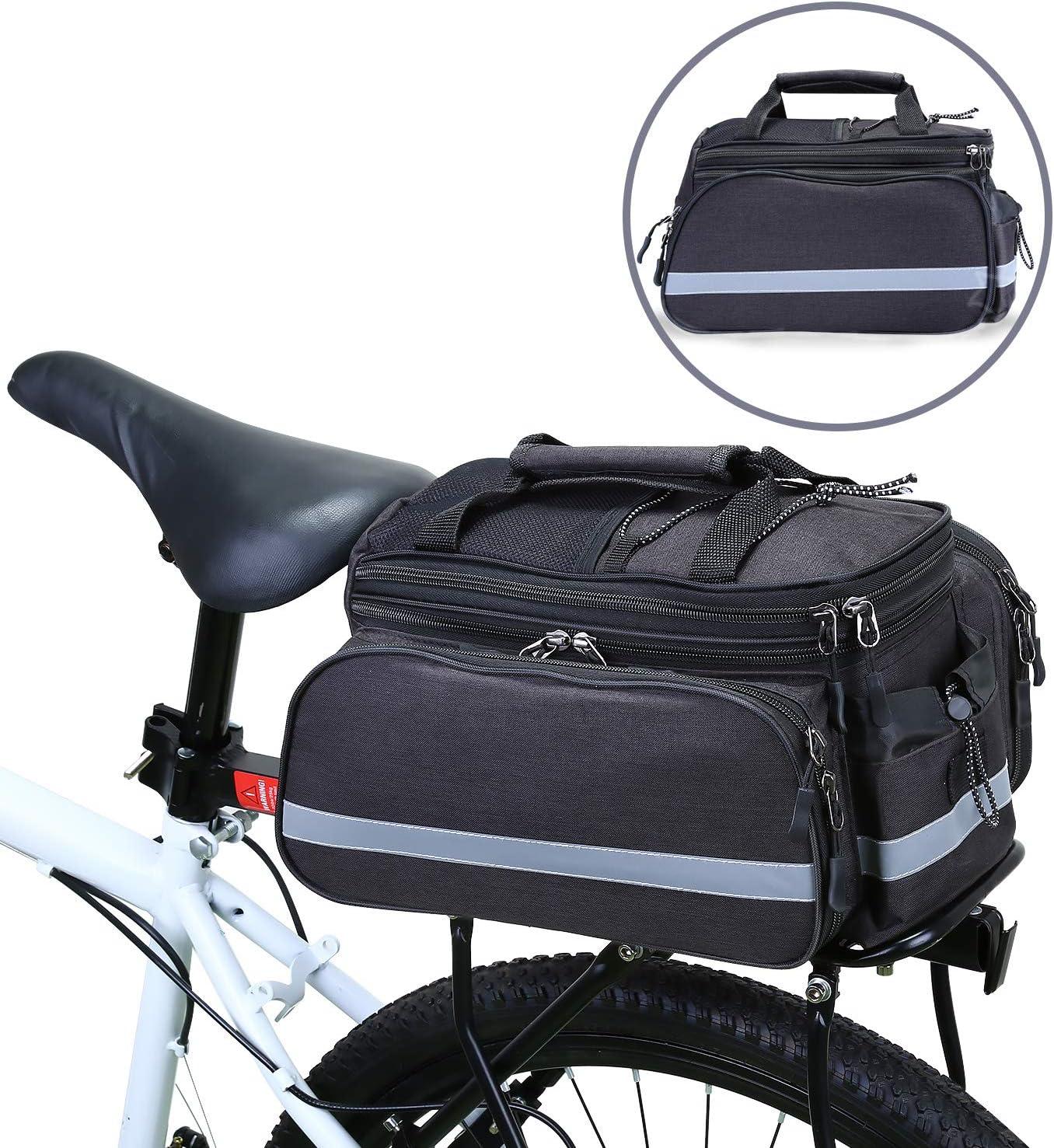 WILDKEN Bolsa Alforja Trasera Bicicleta Impermeable Bolso de Asiento Trasero para Viaje Portátil Extensible Bolsa de Hombro para Ciclismo al Aire Libre (Negro): Amazon.es: Deportes y aire libre