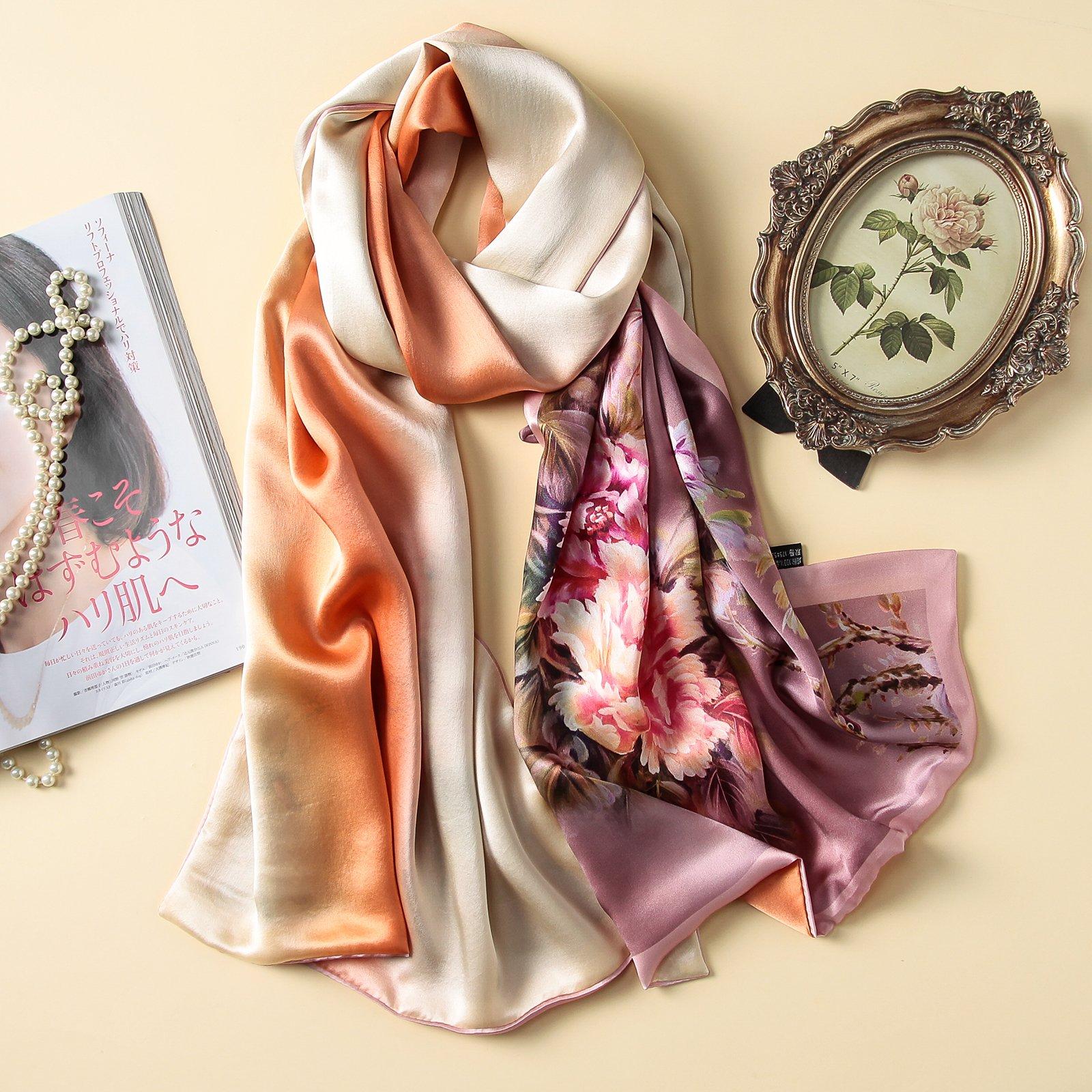 The peony flower scarf silk satin silk shawl, long by KYXXLD