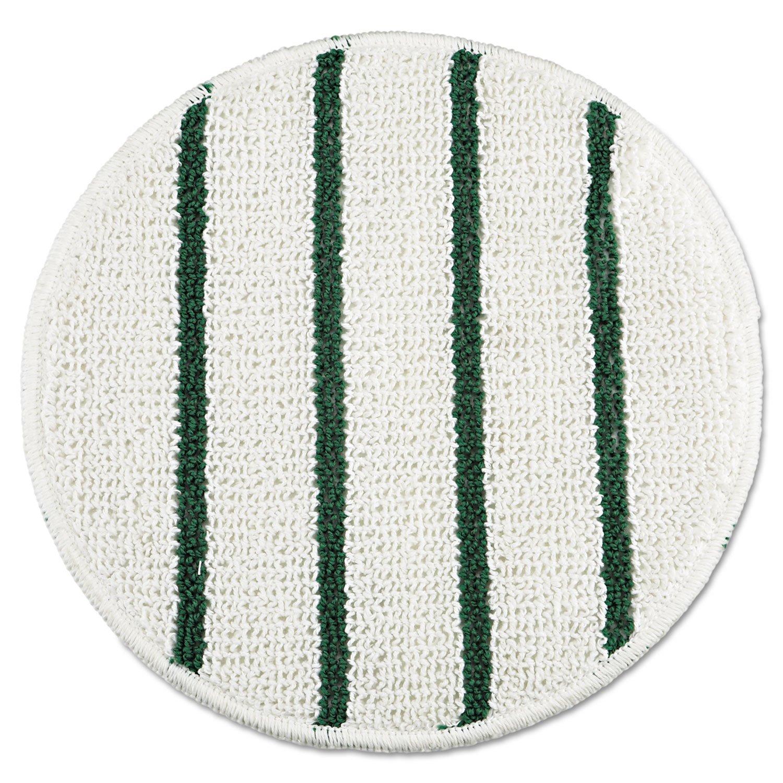 Rubbermaid P271 Low Profile Scrub-Strip Carpet Bonnet, 21'' Diameter, White/Green, 5/Carton