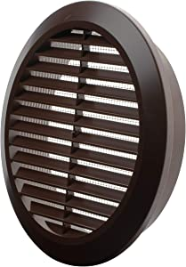 Vent Systems 6'' Inch - Brown - Soffit Vent Cover - Round Air Vent Louver - Grill Cover - Built-in Insect Screen - HVAC Vents for Bathroom, Home Office, Kitchen