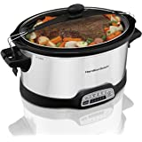 Hamilton Beach Programmable Slow Cooker, 7 quart with Clip-Tight Sealed Lid, Stainless Steel (33476), Silver
