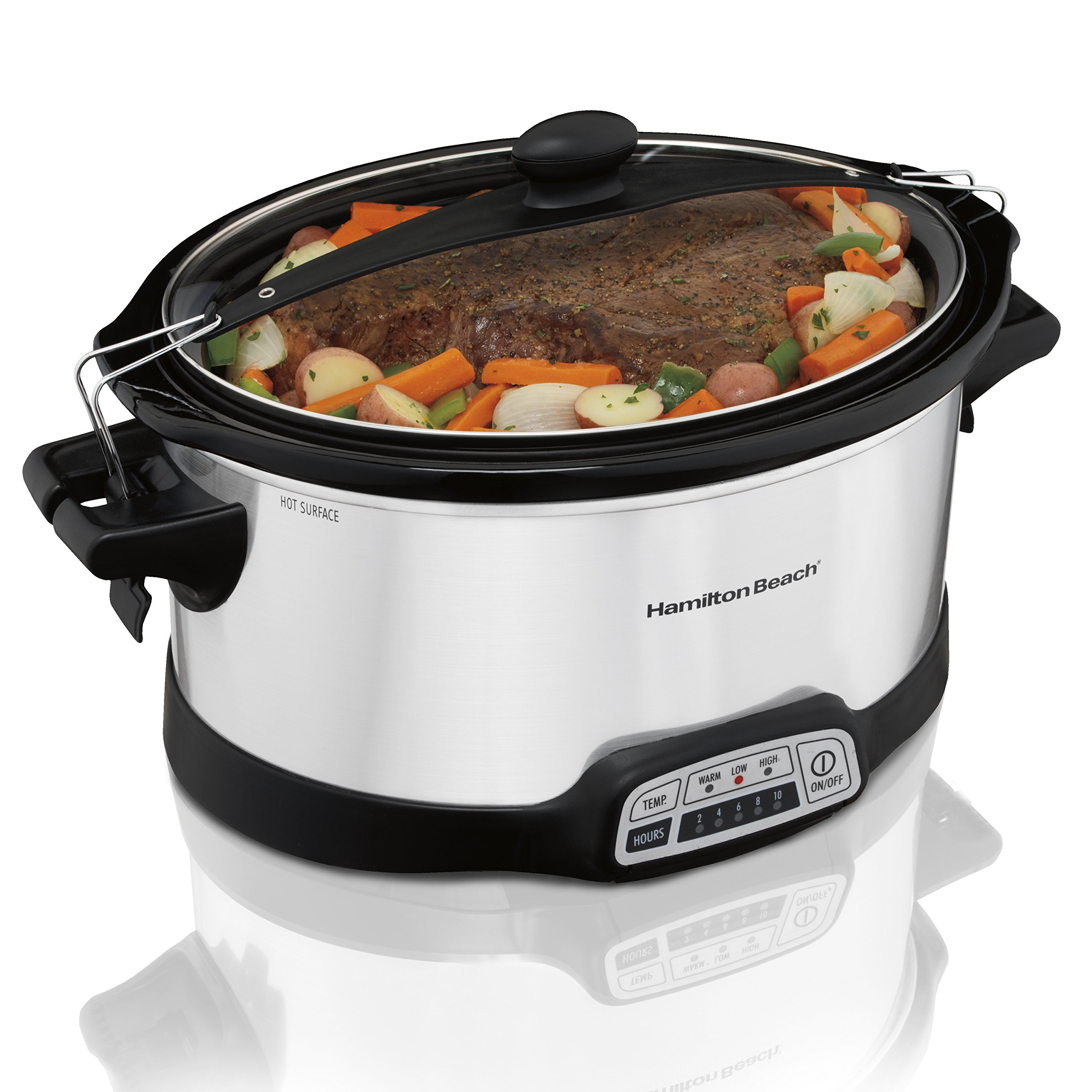 Hamilton Beach Programmable Slow Cooker, 7 quart with Clip-Tight Sealed Lid, Stainless Steel (33476), Silver by Hamilton Beach