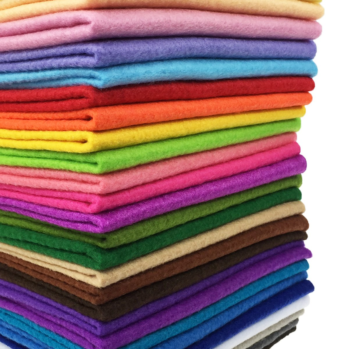 28pcs Thick 1.4mm Soft Felt Fabric Sheet Assorted Color Felt Pack DIY Craft Sewing Squares Nonwoven Patchwork (60x60cm) flic-flac WJCR-FB-BZ6060-28P