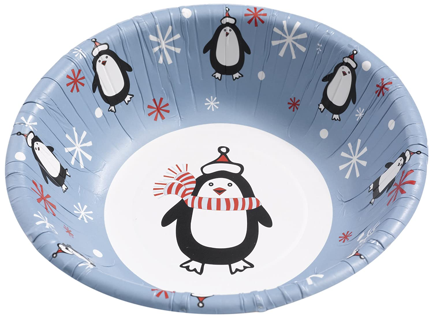 Neviti Party Penguin Paper Bowl, Pack of 8, White/Blue CSC Imports 598540