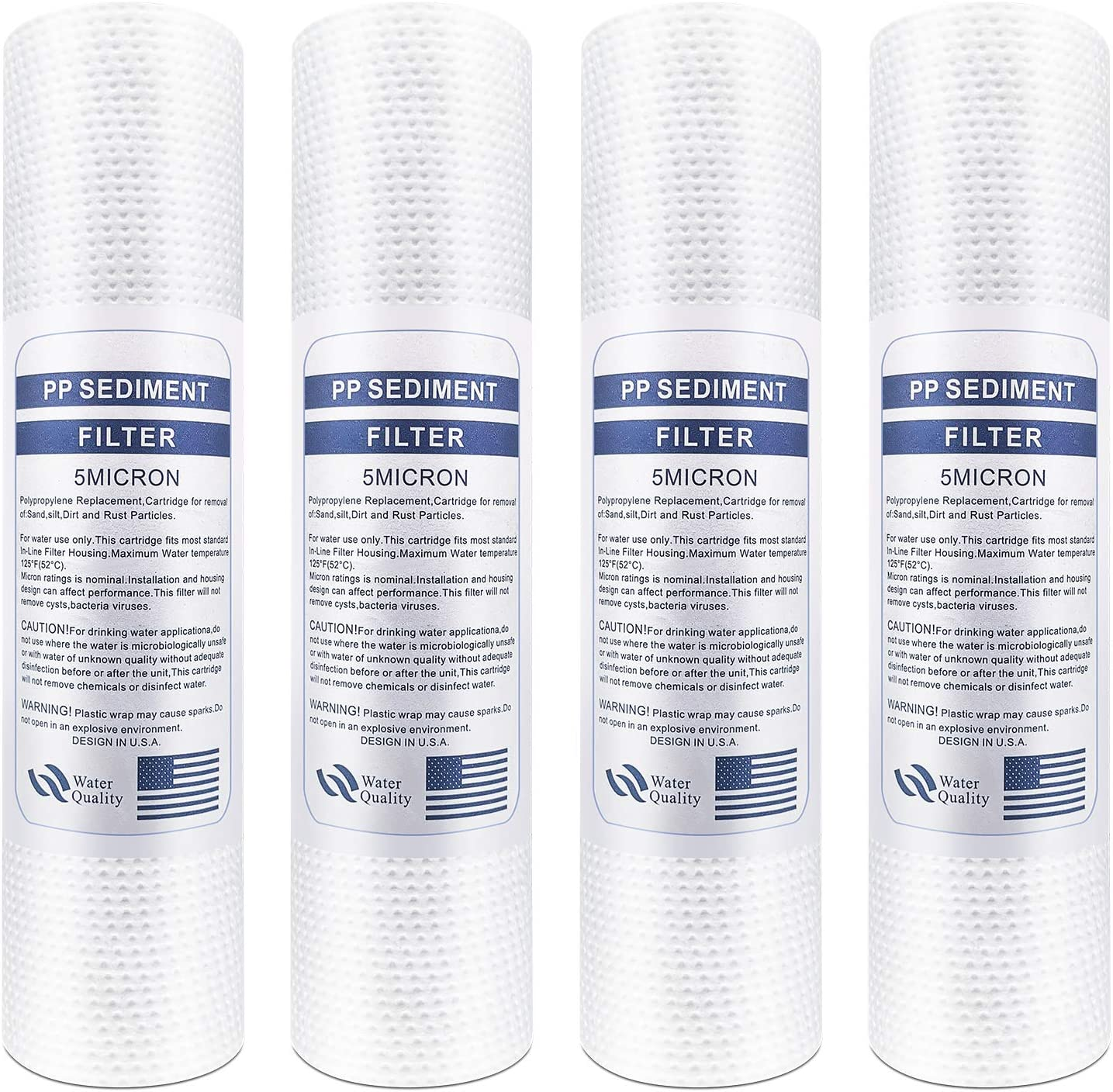 "Lafiucy Melt-blownNeedle-Punched Sediment Water Filter Cartridge 10""x 2.5"",5Micron,4pack,10"" x 2.5"" Whole House Sediment Water Filter Replacement Cartridge"