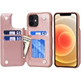 Arae Replacement for iPhone 12 Case and iPhone 12 Pro Case - Wallet Cover with PU Leather Card Holder - Rose Gold