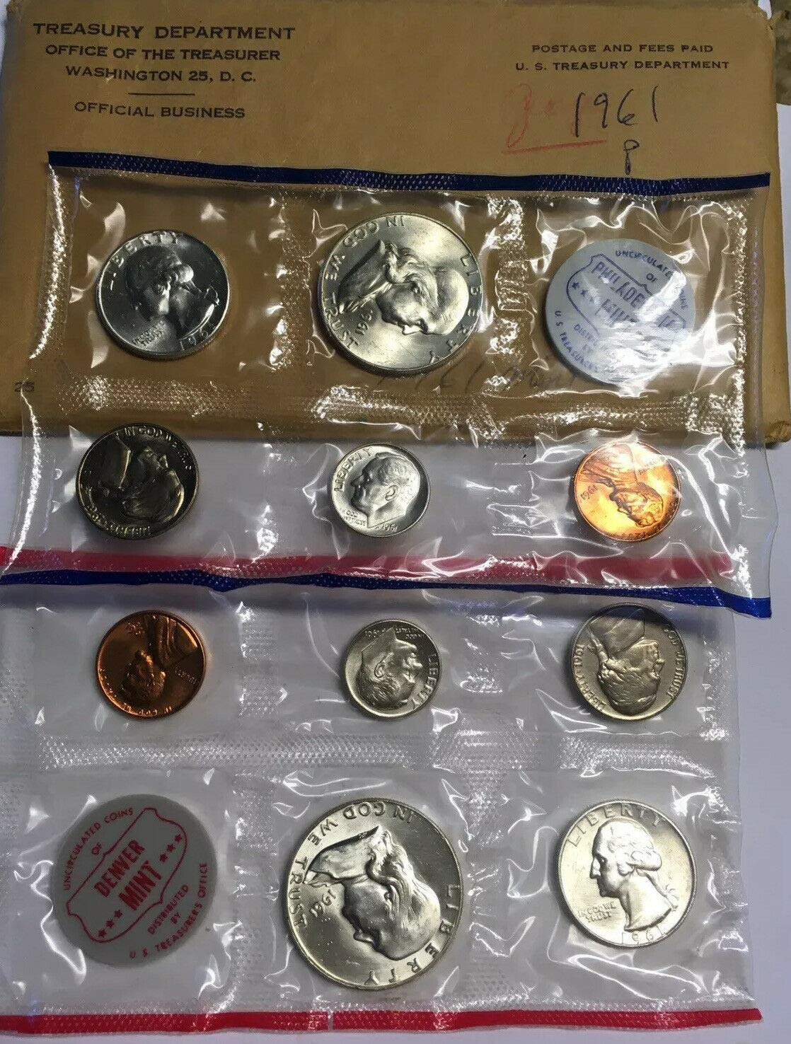1963 US SILVER PROOF SET P /& D 90/% SILVER COINS WITH TREASURY ENVELOPE