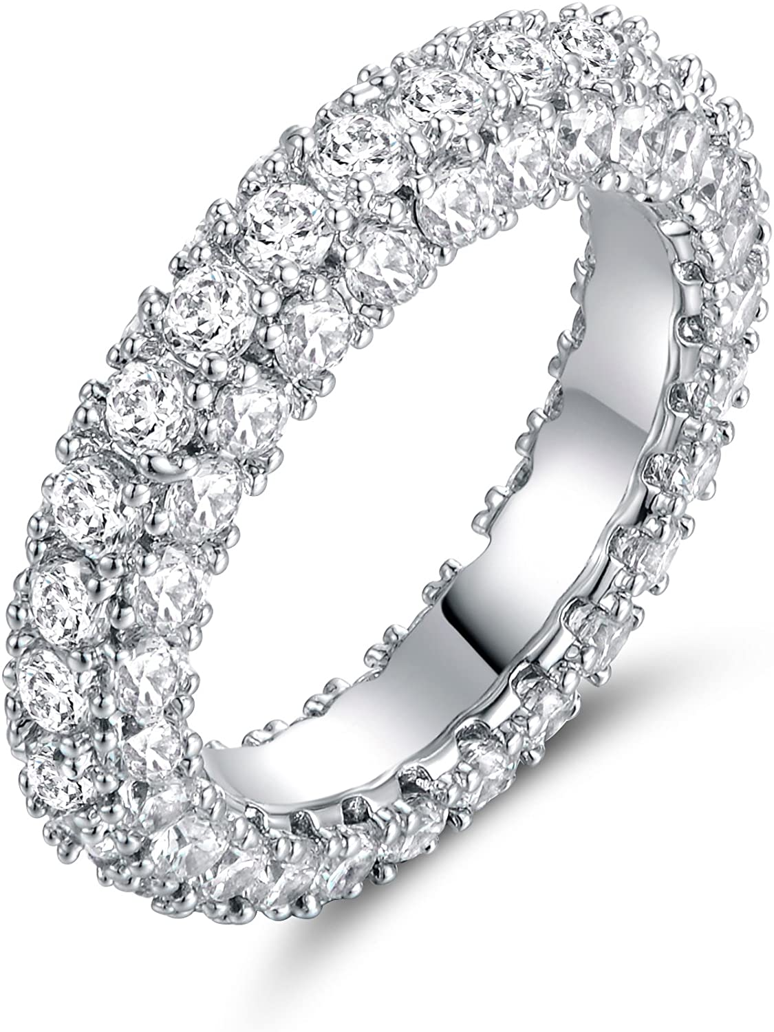 Barzel 18k White Gold Plated Cubic Zirconia Statement Cocktail Eternity Band Ring Jewelry
