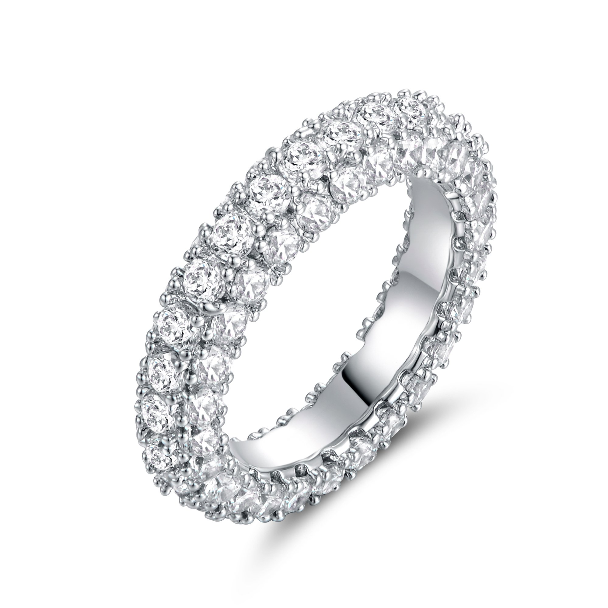 Barzel 18K White Gold Plated & Italian-Cut CZ 3 Row Eternity Ring (7)