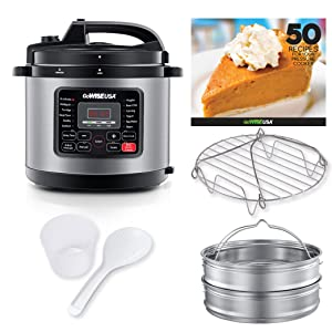 GoWISE USA 12-in-1 Electric High-Pressure Cooker, Canner with Measuring Cup, Stainless Steel Rack and Steam Basket, and Spoon (10-QT, Stainless Steel)