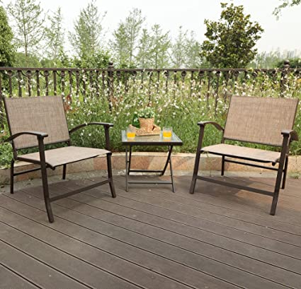 PHI VILLA 3 Piece Oversize Outdoor Sling Conversation Set  Patio Folding  Coffee Set