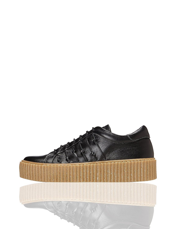 FIND Plateau Schuhe Damen mit Gerippter Plateausohle, Riemchendetails und Sneaker-Design, Weiß (White), 41 EU