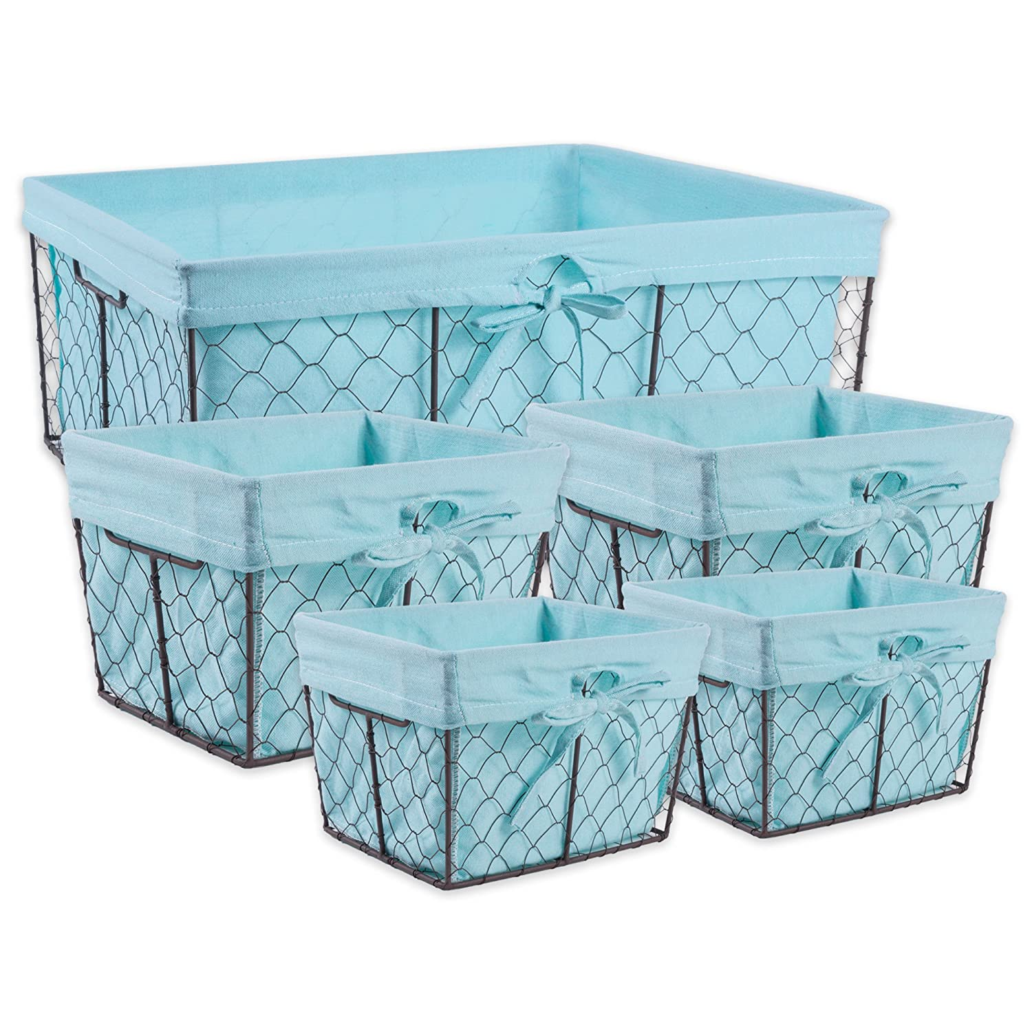 DII Vintage Chicken Wire Basket Removable Fabric Liner, Assorted Set of 5, Aqua