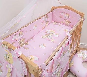 140x70 cm 4-seitig Kinderbett Schutz 5-teiliges Baby Bettwäsche Set 120x60