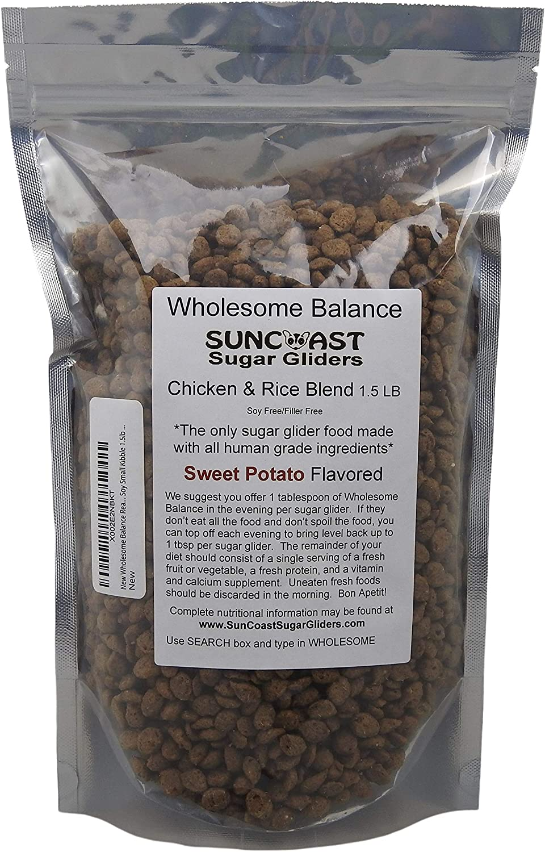 Wholesome Balance Real Chicken Sugar Glider Food - Sweet Potato Flavor NO Filler NO Soy Small Kibble 1.5lb Save $1.00
